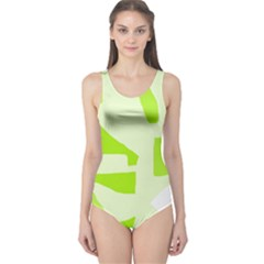 Green Abstract Design One Piece Swimsuit by Valentinaart