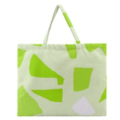 Green Abstract Design Zipper Large Tote Bag by Valentinaart