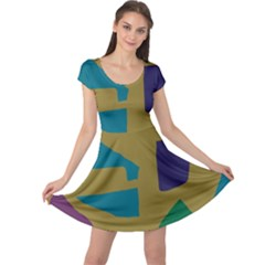 Colorful Abstraction Cap Sleeve Dresses by Valentinaart
