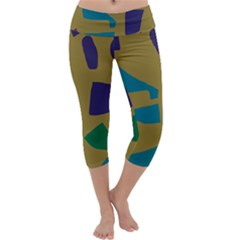 Colorful Abstraction Capri Yoga Leggings by Valentinaart
