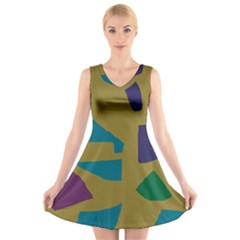 Colorful Abstraction V Neck Sleeveless Skater Dress by Valentinaart