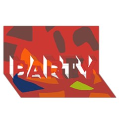 Red Abstraction Party 3d Greeting Card (8x4)