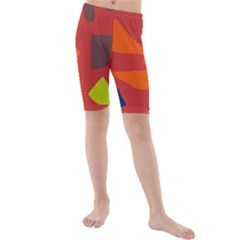 Red Abstraction Kid s Mid Length Swim Shorts by Valentinaart