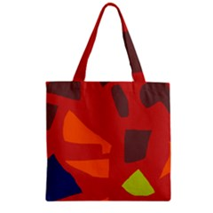 Red Abstraction Zipper Grocery Tote Bag by Valentinaart