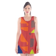 Red Abstraction Scoop Neck Skater Dress by Valentinaart
