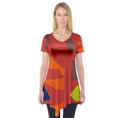 Red Abstraction Short Sleeve Tunic  by Valentinaart