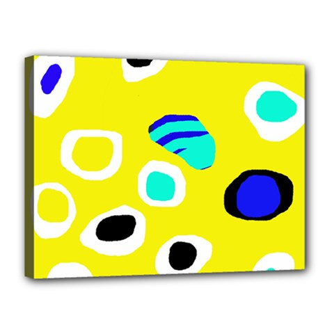 Yellow Abstract Pattern Canvas 16  X 12  by Valentinaart