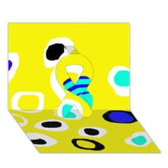 Yellow Abstract Pattern Ribbon 3d Greeting Card (7x5) by Valentinaart