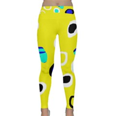 Yellow Abstract Pattern Yoga Leggings  by Valentinaart