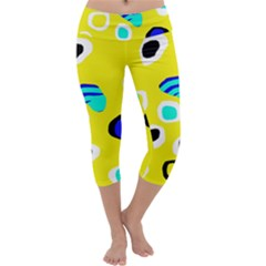 Yellow Abstract Pattern Capri Yoga Leggings by Valentinaart