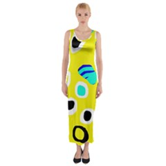 Yellow Abstract Pattern Fitted Maxi Dress by Valentinaart