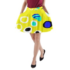 Yellow Abstract Pattern A Line Pocket Skirt by Valentinaart