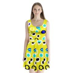 Yellow Abstract Pattern Split Back Mini Dress  by Valentinaart