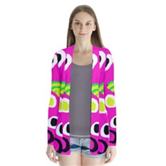 Pink Abstract Pattern Drape Collar Cardigan by Valentinaart