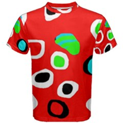 Red Abstract Pattern Men s Cotton Tee