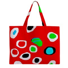 Red Abstract Pattern Zipper Mini Tote Bag by Valentinaart
