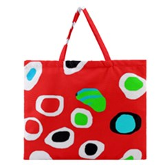 Red Abstract Pattern Zipper Large Tote Bag by Valentinaart