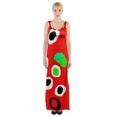 Red Abstract Pattern Maxi Thigh Split Dress by Valentinaart