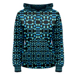 Dots Pattern Turquoise Blue Women s Pullover Hoodie by BrightVibesDesign