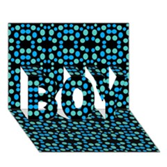 Dots Pattern Turquoise Blue Boy 3d Greeting Card (7x5) by BrightVibesDesign