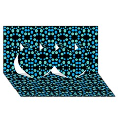 Dots Pattern Turquoise Blue Twin Hearts 3d Greeting Card (8x4) by BrightVibesDesign
