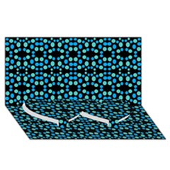 Dots Pattern Turquoise Blue Twin Heart Bottom 3d Greeting Card (8x4)