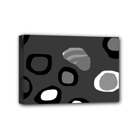 Gray Abstract Pattern Mini Canvas 6  X 4  by Valentinaart