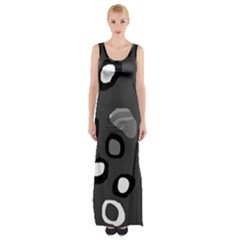 Gray Abstract Pattern Maxi Thigh Split Dress
