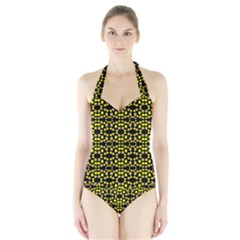 Dots Pattern Yellow Halter Swimsuit by BrightVibesDesign