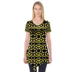 Dots Pattern Yellow Short Sleeve Tunic  by BrightVibesDesign