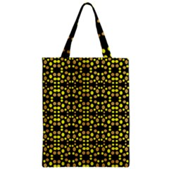 Dots Pattern Yellow Zipper Classic Tote Bag by BrightVibesDesign