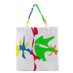 Colorful Amoeba Abstraction Grocery Tote Bag by Valentinaart