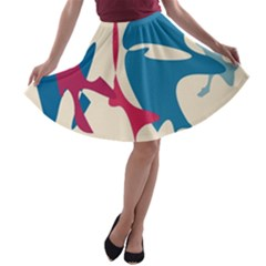 Decorative Amoeba Abstraction A-line Skater Skirt