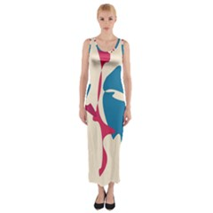 Decorative Amoeba Abstraction Fitted Maxi Dress by Valentinaart