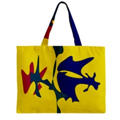 Yellow Amoeba Abstraction Zipper Mini Tote Bag by Valentinaart