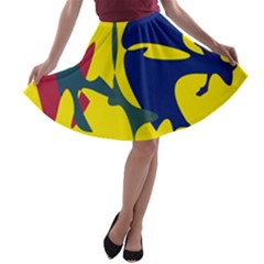 Yellow Amoeba Abstraction A-line Skater Skirt by Valentinaart
