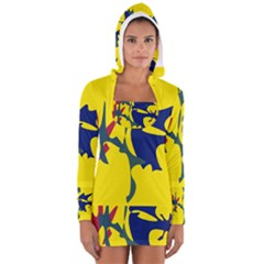 Yellow Amoeba Abstraction Women s Long Sleeve Hooded T-shirt by Valentinaart
