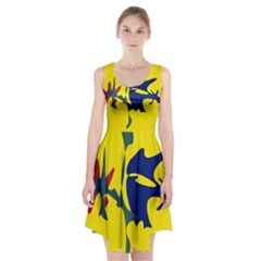 Yellow Amoeba Abstraction Racerback Midi Dress by Valentinaart