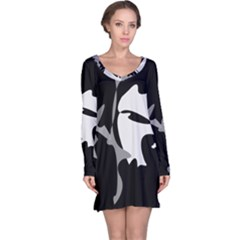 Black And White Amoeba Abstraction Long Sleeve Nightdress by Valentinaart