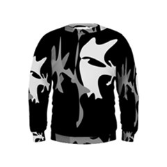 Black And White Amoeba Abstraction Kids  Sweatshirt by Valentinaart