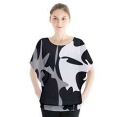 Black And White Amoeba Abstraction Blouse by Valentinaart
