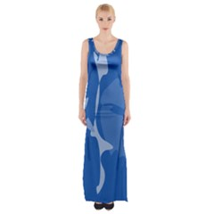 Blue Amoeba Abstraction Maxi Thigh Split Dress