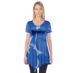 Blue Amoeba Abstraction Short Sleeve Tunic  by Valentinaart
