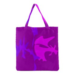 Purple, Pink And Magenta Amoeba Abstraction Grocery Tote Bag by Valentinaart