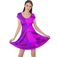 Purple, Pink And Magenta Amoeba Abstraction Cap Sleeve Dresses by Valentinaart