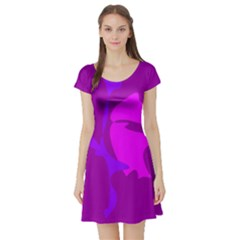 Purple, Pink And Magenta Amoeba Abstraction Short Sleeve Skater Dress by Valentinaart