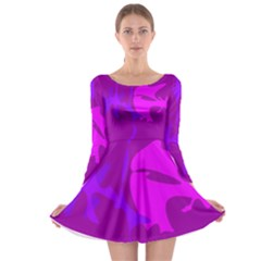 Purple, Pink And Magenta Amoeba Abstraction Long Sleeve Skater Dress by Valentinaart