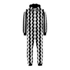 Black And White Herringbone Hooded Jumpsuit (kids) by tjustleft