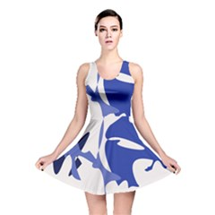 Blue Amoeba Abstract Reversible Skater Dress by Valentinaart