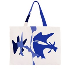 Blue Amoeba Abstract Zipper Large Tote Bag by Valentinaart